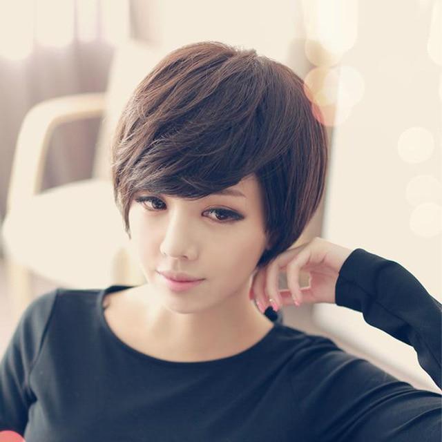 Oblique Bangs Short Hair Wig Female Korean Cute Handsome Temperament