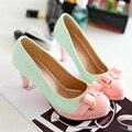 Nova chegada da primavera verão menina doce sapatos de salto alto princesa das mulheres bow-tie bombas multi cor lindo vestido sapatos de festa sapatos