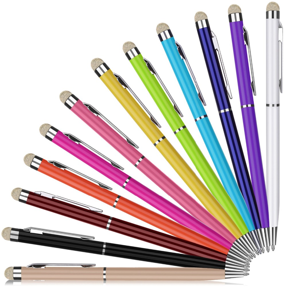 500PCS 2 In 1 Mini Metal Capacitive Universal Touch Screen Microfiber Stylus Ballpoint Pen Gift For