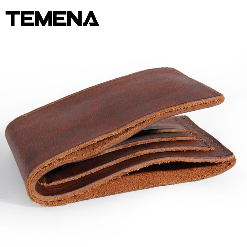 TEMENA New Fashion Vintage Genuine Leather Wallet For Men Handmade Short Wallet Men Purses Wallets Carteira Masculina AWL008E baellerry high quality men leather wallets vintage male wallet three hold purse for men short purses carteira masculina d9150