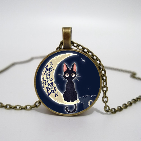 Elf Cat Necklace, I love your moon and back glass pendant necklace charm gift for the best friend space star moon. image