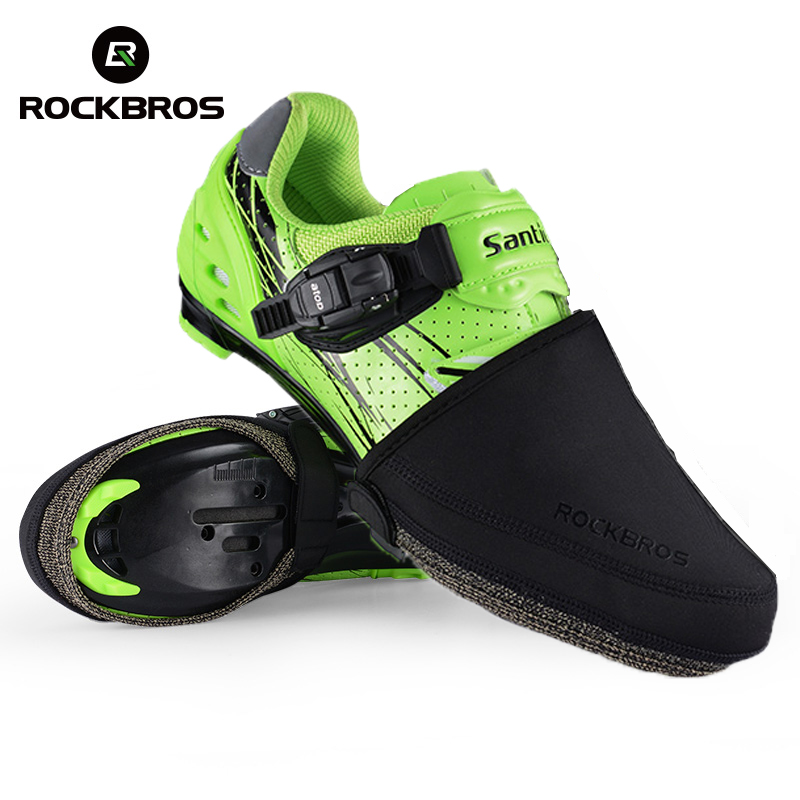 ROCKBROS Bike Cycling Shoe Cover Mtb Windproof Abrasion Resistant Keep Warm Black Half Overshoes Bicycle Shoe Covers Protector