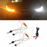 2pcs Set T20 7440 42 LED 2835 50W Dual Color Switchback LED DRL Turn Signal Light