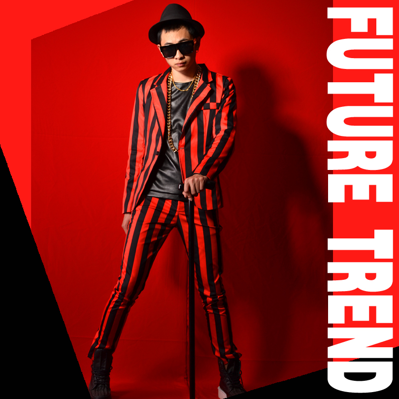 2019 New Men Casual clothing Fashion slim Suit DJ Red and black stripes Blazer Suits plus size formal dress male singer costumes