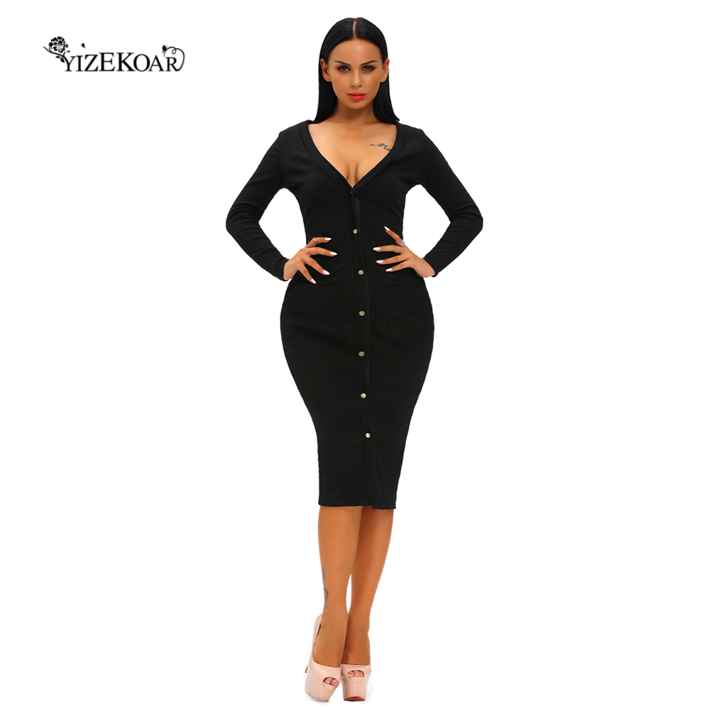 Black dress cardigan - 2017 Fashion Autumn Party Women Sexy Lace Short Dresses Long Sleeves White Black Button Up Ribbed Midi Cardigan Dress Lc61219