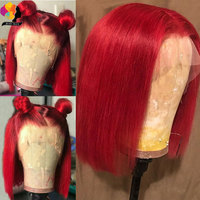 Remyblue Short Bob Red Straight 13X4 Lace Front Human Hair Wig Pre Plucked Hairline Peruvian Remy Burgundy Wig With Baby Hair