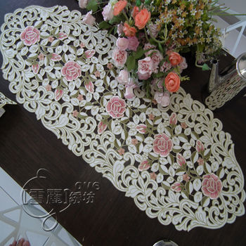 Rustic fashion embroidery fabric dining table cloth coffee table runner cutout cover towel pink rose