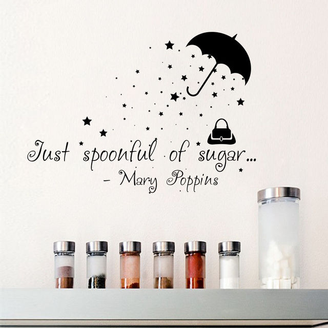Wall Stickers Quotes Mary Poppins Just Spoonful Of Sugar Vinyl DIY  Self Adhesive Wall Sticker