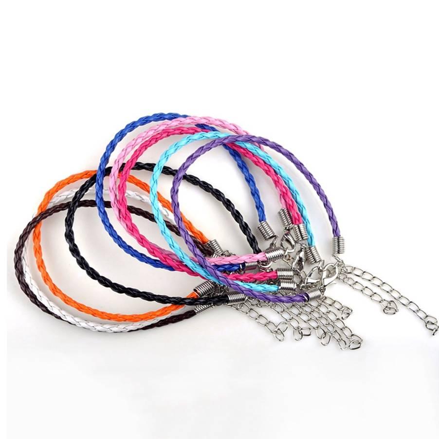 Mix Lot Wholesale 10Pcs lot Men Women Leather Braided Bracelet Unisex Handmade Leather Twist Bracelet Rope Charm Bracelet 19cm in Charm Bracelets from Jewelry Accessories