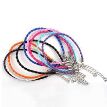 Mix Lot Wholesale 10Pcs/lot Men Women Leather Braided Bracelet Unisex Handmade Twist Rope Charm 19cm