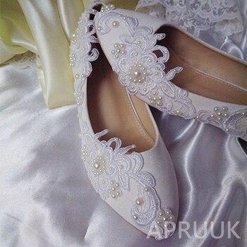 Chaussures Compensées | 2 CM Bas Compensées Talon Blanc Dentelle Chaussures De Mariage Mariée Grande Taille 41 42 43 Luxe à La Main Mariée Demoiselle D'honneur Fleur Fille Chaussures Pompe