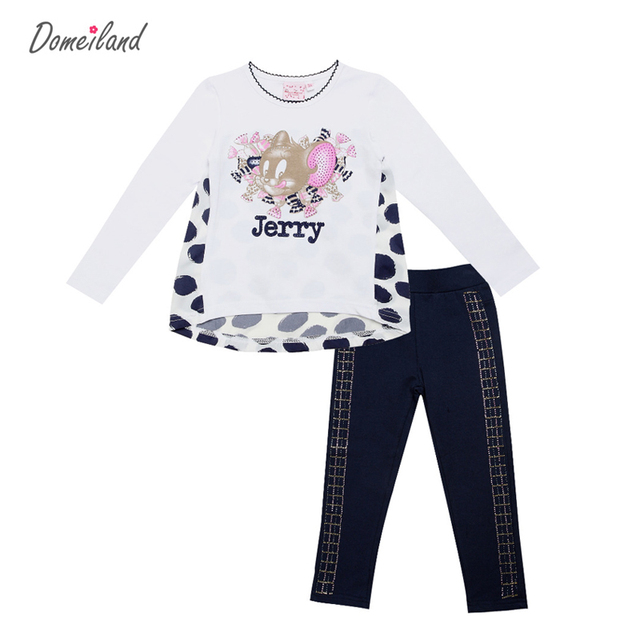 2017 brand Children outfits clothing sets for kids cotton girl collection cartoon jerry long sleeve tops pants clothes costume