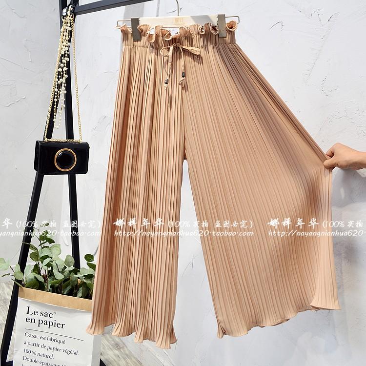 2019 Summer High Waist Lace Up Waist Pleated Pants Women Loose Wide Leg Chiffon Pants Lady Lace Up Waist Ankle Length Pants 43