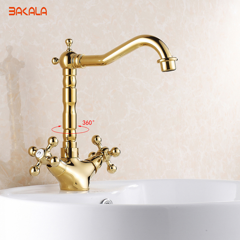 Modern Gold Brass Bathroom Basin Faucet Style Vanity Sink Mixer Tap Deck Mounted Faucet GZ7306K