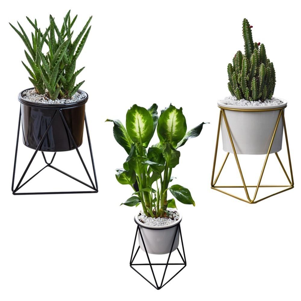 Geometric Wall Container Northern European Triangular Iron Art Simple Succulent Green Plant Iron Frame Ceramic Flower Pot Vase