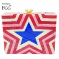 Captain American Shield Star Print Women Red Evening Party Prom Acrylic Clutch Handbags Purse Ladies Hardcase Chain Shoulder Bag