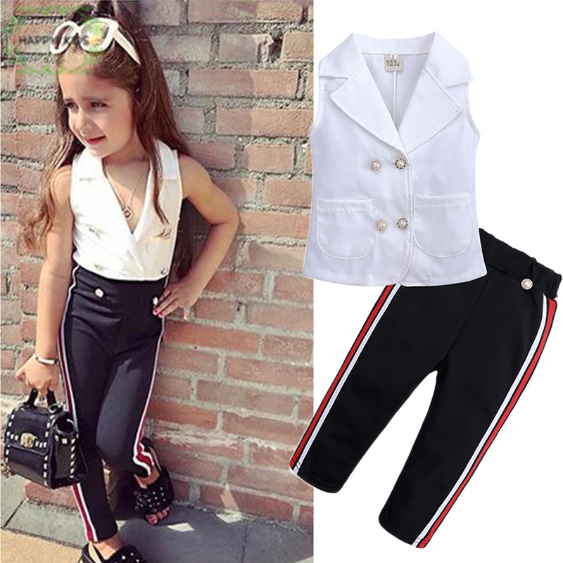 Mother & Kids Industrious 2019 New Summer Fashion Kids Clothing Set Sleeveless Blouse Black Stripe Pants 2pcs Children Girl Clothes Sets For 1-6t Dtz452 Online Discount Girls' Clothing