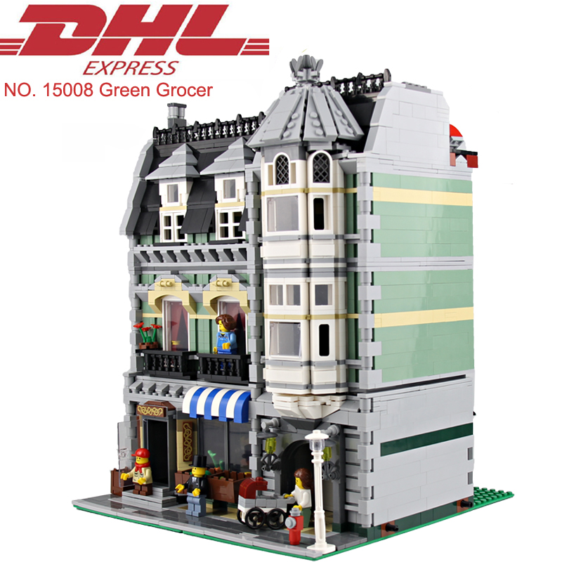 ФОТО 2462Pcs City Street Green Grocer Model Building Kits Blocks Bricks Hot Toys For Children Figures Gift Compatible With 10185