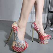 2016 Sexy 16CM High Heels  Shoes Woman Thin Heels Women Pumps Platform Woman Wedding  Shoes Pumps