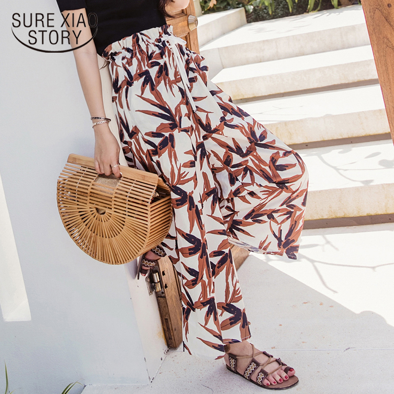 New 2018 Summer Women Trousers Large Size Bohemia   Wide     Legs     Pants   Drawstring Beach Vacation Print Bottoms Clothing D787 30