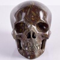 Бамбук яшма череп статуя большой Натуральный камень и Кристалл Уникальный 1030 г череп фигурка Скульптура Craft Исцеление Рейки Home Decor