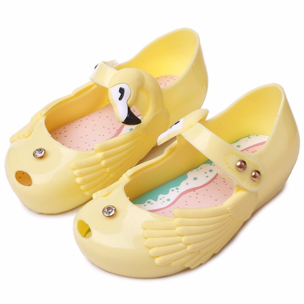 Mini Melissa Girls Jelly Sandals 2018 Summer Princess Shoes Non-slip Melissa Wings Baby Beach Sandals High Quality 13-18CM