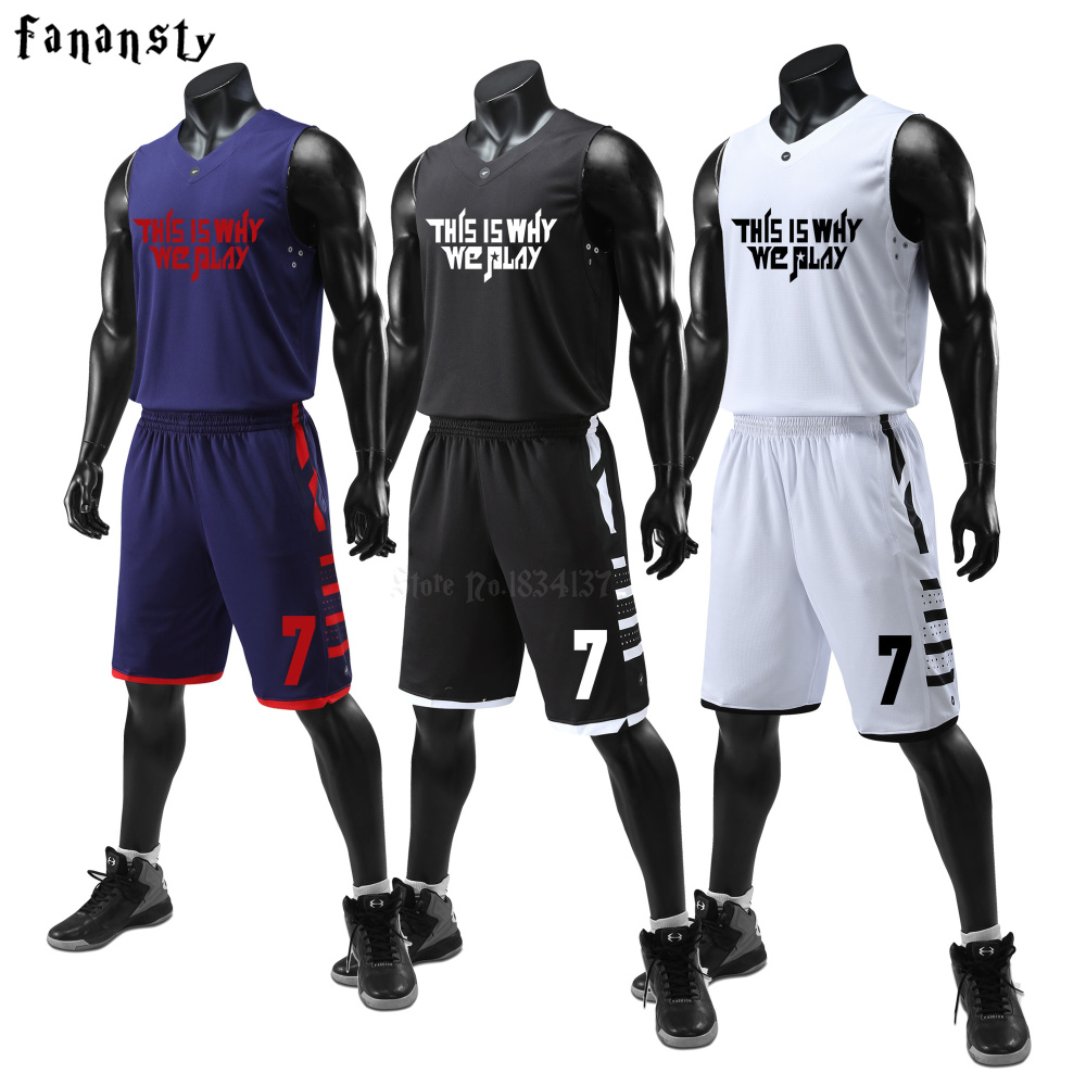 все цены на Men Basketball Uniforms Set Mens Sports Suits Breathable Quick dry Custom Mens Cheap college Basketball Jerseys 2018 New