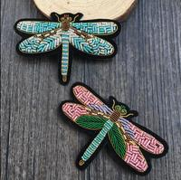 Dragonfly Indian Silk Emboridered Patch Brooch Beaded Applique Patches Vintage Embroidered Badge Fashion Clothing Decoration