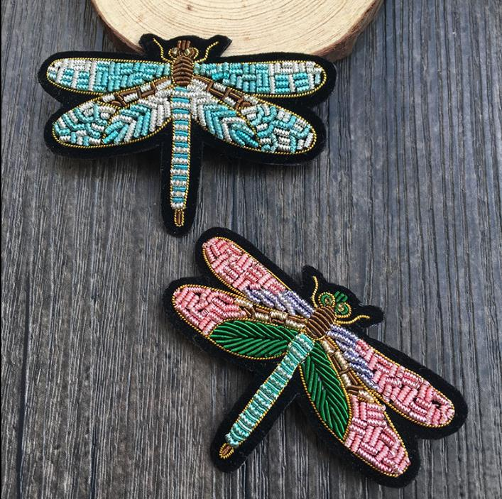 Dragonfly Indian Silk Badge Buiter Hand Jewelry Sets & More Embroidered Clothing Accessories Badge Pin Wire