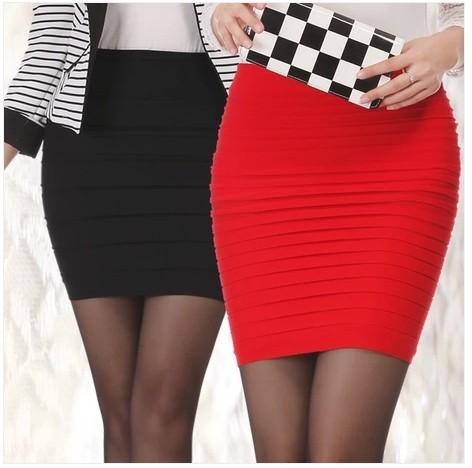 16 Colors 2015 Summer Autumn Striped Package Hip Women Skirts Elastic Waist Pleated Skirt Women's Short Skirt saia feminina
