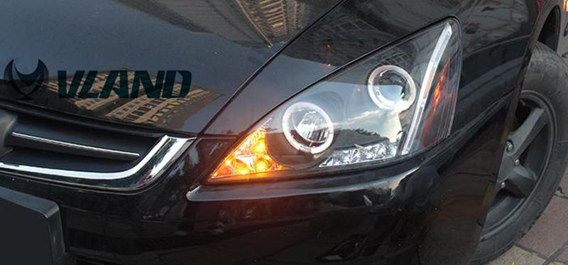 VLAND manufacturer for Car head lamp for Accord LED Headlight 2003-2007 for Accord Head light with Double Angel Eyes vland 2pcs car light led headlight for jetta headlight 2011 2012 2013 2014 demon eyes head lamp