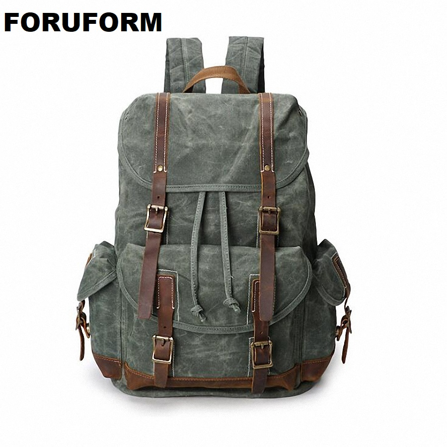 Men Laptop Backpack Rucksack Waterproof Canvas School Travel Backpacks For Teenage Male Notebook Bagpack Computer Knapsack 2053
