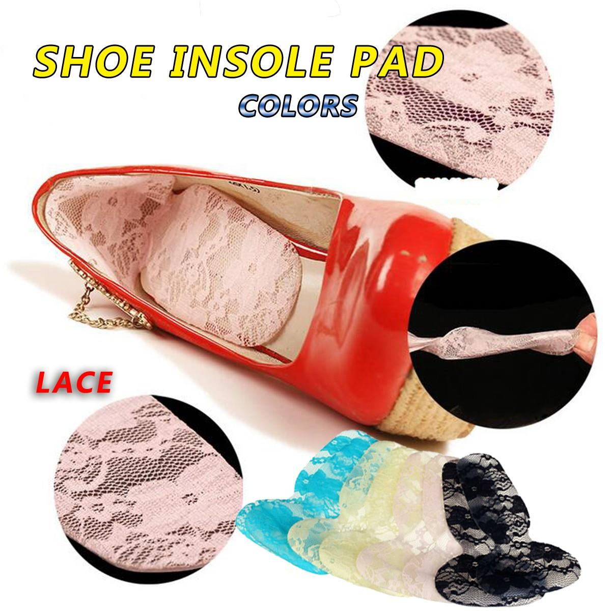 купить NIS 2018 Protector Anti Slip Cushion Shoe Insert 4 Colors 1 Pair High Heel Insole Pads Soft Silicone Lace Gel Foot Care