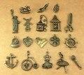 Cremallera del bronce Vintage plateado Anchor timón corazón encantos mezclados colgante Diy joyería que hace accesorios artesanales hechos a mano
