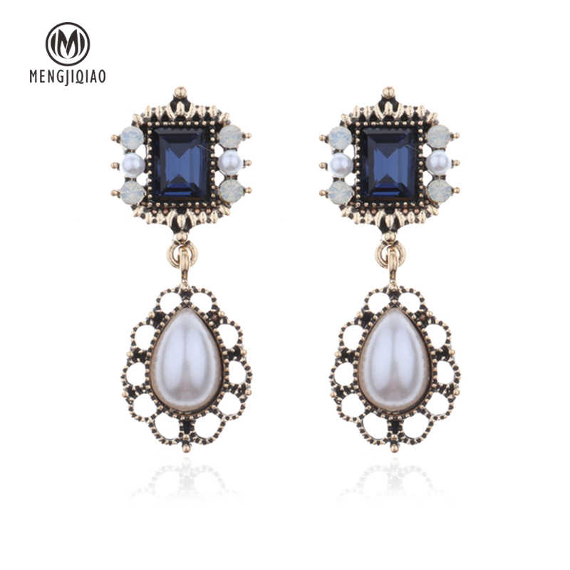 MENGJIQIAO 2018 New Vintage Fashion Water Drop Simulated Pearl Earrings For Women Bijoux Classic Square Crystal Dangle Oorbellen