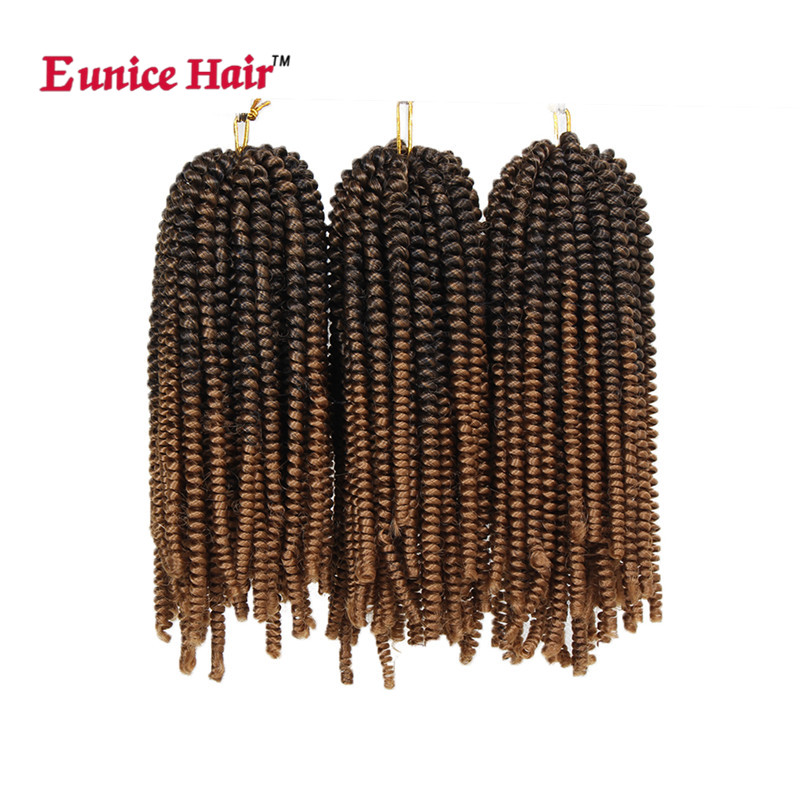 Eunice 6inch bouncy twist Short Fluffy Afro Spring Twist brown Braids Hair Extensions #1b/27/#4 Synthetic black Braiding Hair