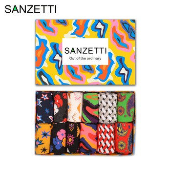 SANZETTI  12 pairs/lot Gift Box Newest Funny Men's Cotton Colorful Socks Male Casual Crew Dress Socks Novelty Birthday Gifts