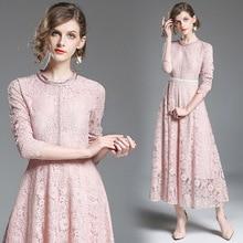 2018 Fall Lace O-Neck Collar Long Sleeve Fashion Cutout Slim Fit Dress vestidos cutout side fit