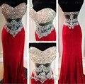 2016 Nova Namorada Ver Através de Vestido de Baile Vermelho com Cristal Longo vestidos longos para formatura