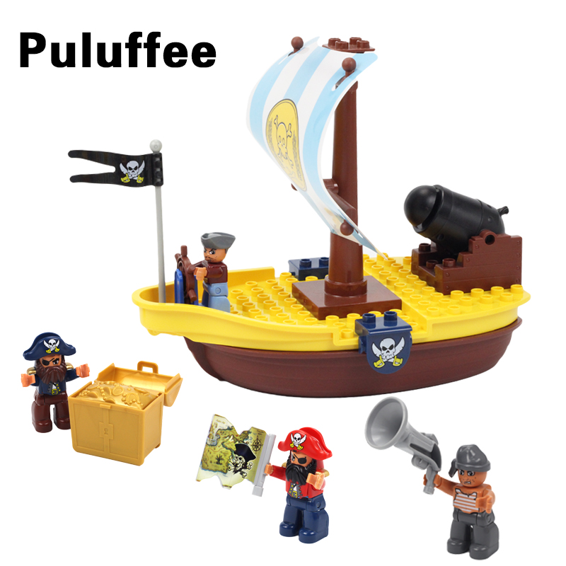 Big Size Building Blocks Pirate Ship Bricks Compatible Duploe Cannon Treasure Treasure Map Accessories Educational Toys For Kid red pirate ship blocks compatible legoingly war pirate king character action diy bricks cannon building blocks toys for children