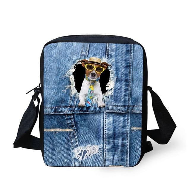 9c8467f16222 3D Print Denim Animal Series Messenger Bag Small Bag Purse Bag Boy Casual  Girl   Boy Handbag Shoulder Bag