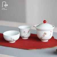 4 шт. Чай комплект 1 чайник 2 Чай чашки гайвань с сумка мини Цзиндэчжэнь фарфор путешествия чашки керамические наборы Улун чип Кубок