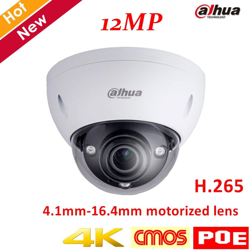 Nova Chegada 4 k IPC-HDBW81230E-Z 12MP Câmera Dahua IP IR Câmera Dome de 4.1mm-16.4mm lente motorizada Suporte POE e cartão SD