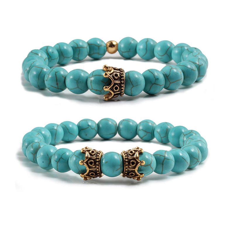 8mm Blue Turquoises Stone Alloy Crown Beads Charms Couple Bracelets For Women Men White Beaded Elastic Stretch Bangles Jewelry