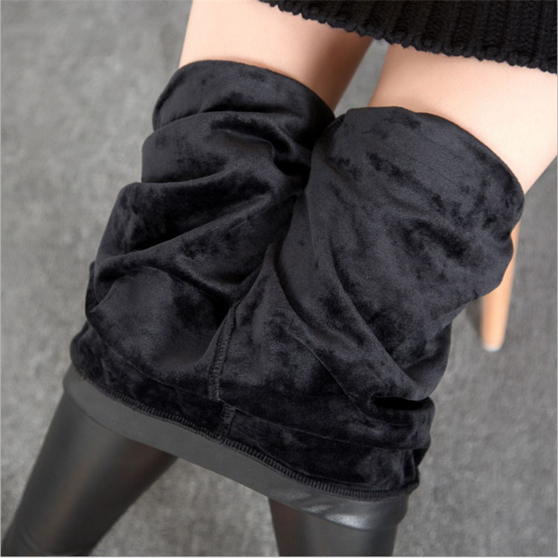 Thickening Black Leather Leggings Winter Leggings for Women Fashion Faux Leather Leggins
