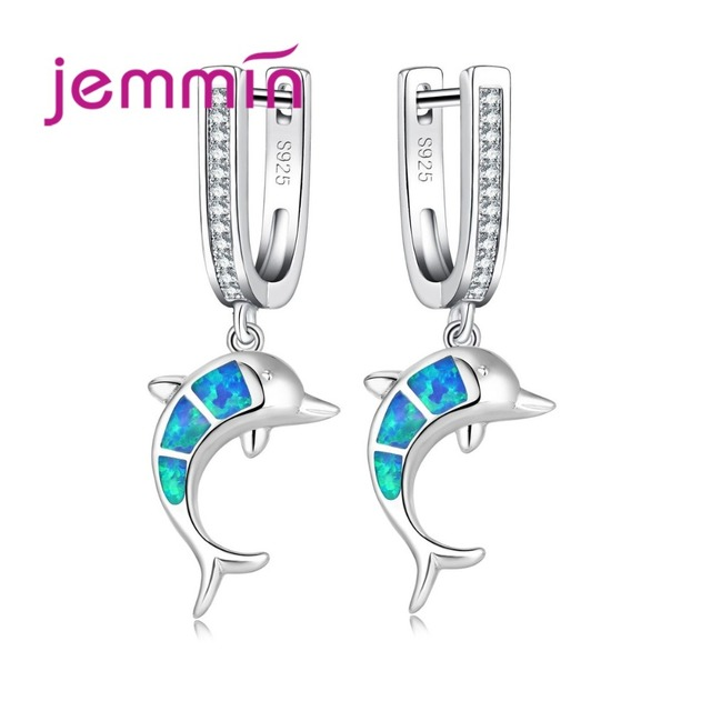 Jemmin Blue Fire Opal Dolphin Earrings For Party Jewelry 925 Sterling Silver Dangle Earring With