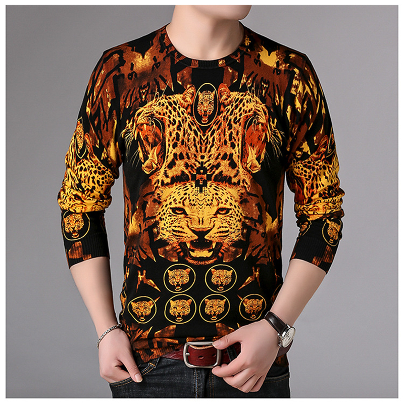 Creative 3D Leopard Head Pattern Printing Pullover Knitted Sweater Autumn 2018 Quality Soft Comfortable Fancy Sweater Men M-XXXL