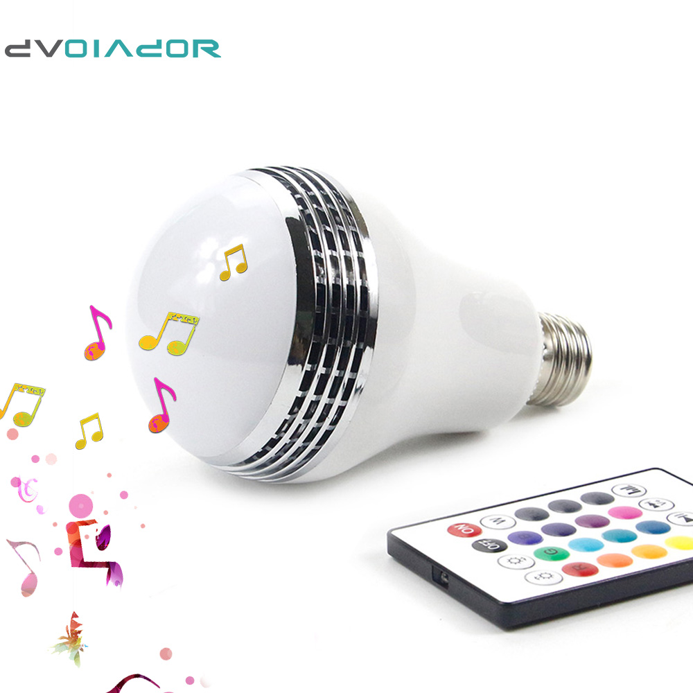 DVOLADOR Dimmable Discolor E27 10W RGBW LED Bulb Bluetooth connection Lamp Speaker LED Music Bulb With RF 24key Remote Control zjright smart bluetooth speaker led bulb dynamic flame effect music lamp e27 ir remote full color rgbw led lamp home lighting