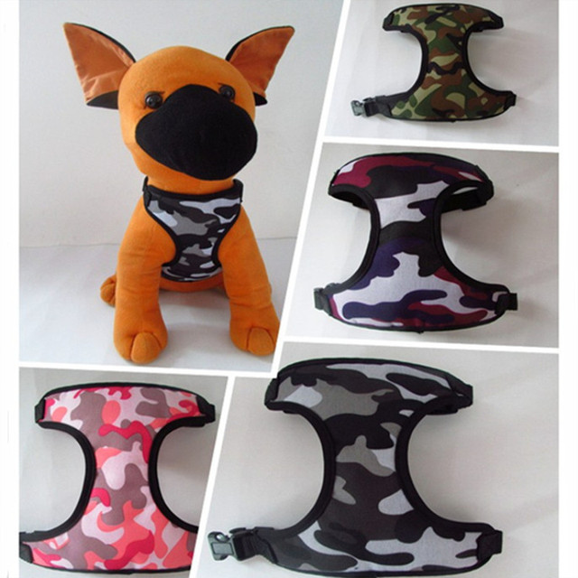 Camo Dogs Adjustable Breathable Harness Pets Cats Chest Strap Mesh Vest Collar Dog Lead Traction Belt Puppy Dog Harness