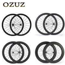 Novatec Hubs OZUZ 700C 24 38 50 60 88mm Pneu Tubulaire 23mm Largeur Carbone Roues Vélo De Route Roue De Bicyclette Lumière Carbone Roues